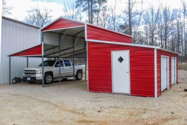 metal barn used as rv carport 1