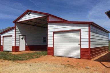 metal barn used as rv carport 2