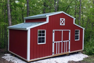 red prefab shed