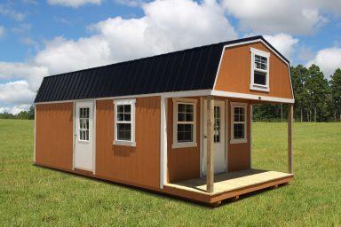 lofted cabin with side door
