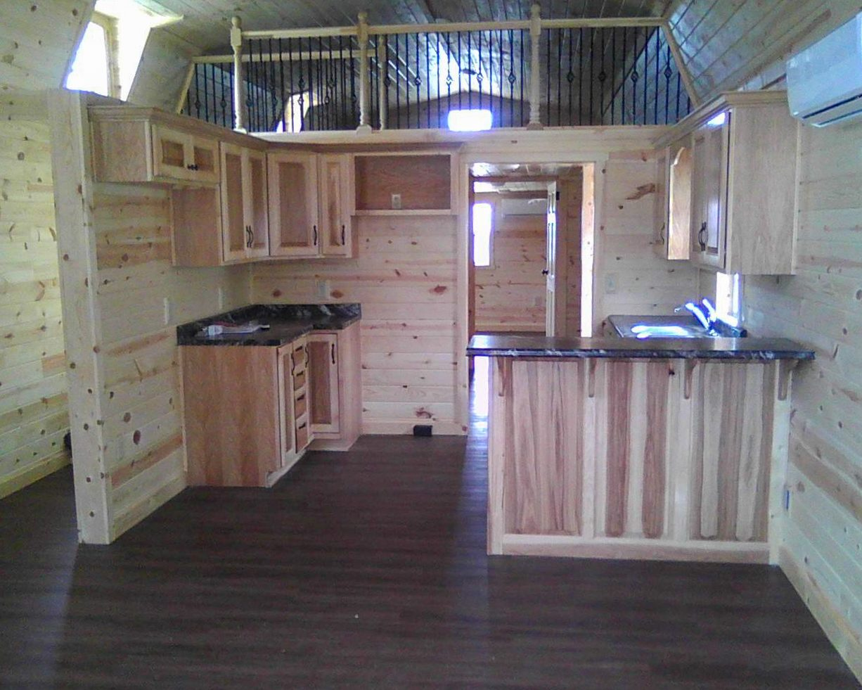 prefab cabin finished kitchen